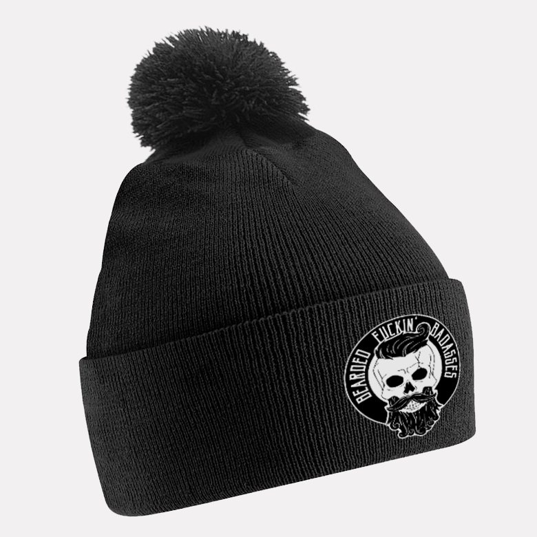 Bearded Badasses All Black Beanie With Bobble